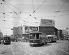 """""""Trolley Cars on Flatbush and Atlantic Avenue"""" Photograph (about 1950), New York Transit Museum, Brooklyn, New York City (jag9889) Tags: 2016 20160612 anniversary architecture atlanticave atlanticavenue auto automobile bw beverage blackandwhite boulevard brooklyn building car cocacola coke downtownbrooklyn drink flatbushavenue house indoor intersection kingscounty mta metropolitantransportationauthority monochrome museum ny nyc nytm newyork newyorkcity newyorktransitmuseum photograph road sign street transit transportation trolley usa unitedstates unitedstatesofamerica vehicle jag9889"""