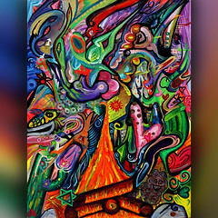 Psychedelic Fire (MattCrux) Tags: collaboration collaborative swirllife swirlove wildart artsy arty artistry artisan creativeart cactusart paintingoftheday paintingfun paintingforsale paintingisfun