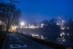 Blue hour walk in Ulm ... (acbrennecke) Tags: achimbrennecke ulm bluehour nightshot lowlight donau walking street reflection bridge