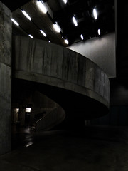 In the Bowels of the Tate Modern (Steve Taylor (Photography)) Tags: architecture artgallery steps stairs contrast eerie spooky concrete uk gb england greatbritain unitedkingdom london curve perspective pattern gallery tatemodern thetanks