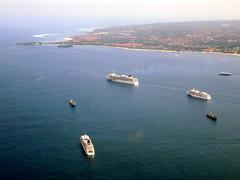 Nusa Dua and Waterblow (oobwoodman) Tags: aerial aerien luftaufnahme luftphoto luftbild indonesia bali dxbdps cruise ships croisières kreuzfahrt schiff bateaux
