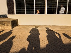 Travellers (F6 Photography) Tags: travellers waiting talking travelling watching shadow lightplay sun kid window