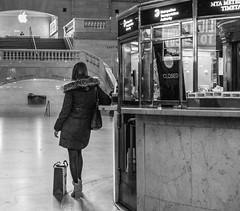 Closed (John St John Photography) Tags: grandcentralterminal 42ndstreet vanderbiltavenue lexingtonavenue newyorkcity newyork streetphotography candidphotography metronorth railroad commuter youngwoman shopping bag waiting mainconcourse informationdesk applestore bw blackandwhite blackwhite blackwhitephotos johnstjohn
