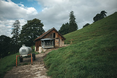 veau stall (daN ⑰ (new topographics)) Tags: newtopographics nature stable stall building farm switzerland appenzell water tank
