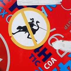 No Ostrich Jousting (Coastal Elite) Tags: fletcher stickers franksignatra fletchermtl signderella frank signatra red circle line through slash symbol logo parody fake defense prohibition interdit interdiction sign prohibited défendu collant sticker autocollant stickerart montreal streetart artist street art montréal pictogramme pictogrammes pictogram pictograms stick figures slap slaps stickerslap joust jousting medieval ostrich autruche emu