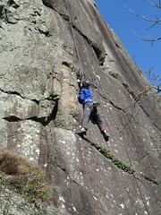 tall enough to reach (squeezemonkey) Tags: northwales snowdonia winter castlestafftrip tremadog tradclimbing climbing outdoors doleriterock craigpantifan uppertier crag climber