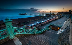 Brighton (E_W_Photo) Tags: brighton sussex uk palacepier seafront pier sea promenade beach night sunset stairs dusk traffictrail canon 80d sigma 1020mm leefilters