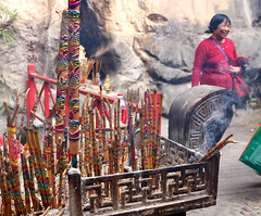Burning incense (Katie Raymer) Tags: china travelling travel incense guilin
