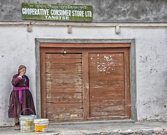 Waiting for the shop to open (bag_lady) Tags: tangtse ladakh jammukashmir india ladakhi remote shopping shop cooperative village shopsign