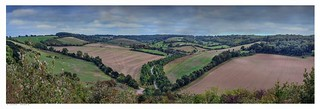 Upper Austin Lodge valley panorama on a clear day, Eynsford, Kent.
