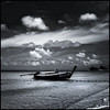 Thailand - Krabi - Poda Island 06_sq mono_DSC6669 (Darrell Godliman) Tags: thailandkrabipodaisland06sqmonodsc6669 blackandwhite bw monochrome mono squareformat sq bsquare squares boat longtailboat clouds cloud