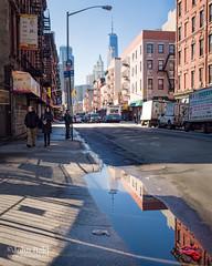 Lower Manhattan, New York City (85883) (John Bald) Tags: chinatown lowermanhattan madisonstreet manhattan newyork newyorkcity worldtradecenter bluesky daytime ny puddle reflection street urban winter