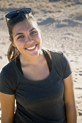 Jules at Mitchell Caverns Sand Dunes (Mr Buhr) Tags: travel hiking trip road mitchell caverns sand dunes wife portrait eyes blue desert yellow red glasses summer america usa california ca lady woman beautiful