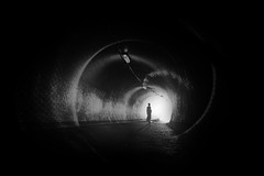 ...swirl... (*ines_maria) Tags: zizkov spiral gh panasonic view melancholic dog woman monochrome blackandwhite light urbanart silhoutte tube urban prag prague žižkov tunnel dcgh5