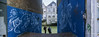 Dordrecht cityscape (film) (PaulHoo) Tags: pano panorama panoramic widescreen widelux wideluxf7 dordrecht city urban cityscape film analog 35mm 2018 streetart people candid photographer blue wall building architecture