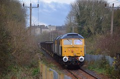 Rail Operations Group 47848 & 47815 slowly draw the spoil empties along the Barrington Light Railway, on the first stage of the journey to Wembley, London. The former Cement Works can be seen in the background. 29 11 2017 (pnb511) Tags: class47 diesel loco locomotive trains barringtonlightrailway barrington quarry freight rog railoperationsgroup traction locos locomotives diesels train track