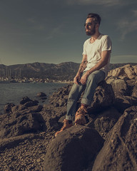 USA - Santa Barbara - 20180413 - 769.jpg (livrePEDRO) Tags: horizon portrait nature water fashion moody lake 4x5 fujifilm jeans trip california male beach ocean travel texture santabarbara beards tattoo sky model style skyline pacific beard stone scene usa selfportrait landscape sunset mensfashion shapes rocks vertical greyhair profile pattern boots outdoors clouds bluesky sun man urban warm menstyle river face dramatic sunny sunrise unitedstatesofamerica glasses lifestyle summer mountain
