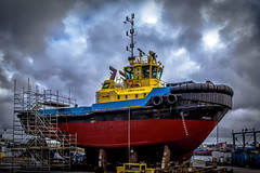 Smit Clyde (Paul Rioux) Tags: marine tug boat ship vessel work smitclyde pointhope shipyard drydock refit clouds weather prioux victoria harbour