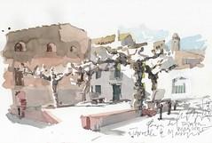 Torroella de Montgrí. Plaça del Pintor Mascort. (Argent Viu) Tags: aquarel·la ploma