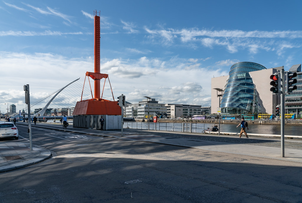 THREE LANDMARKS IN DUBLIN DOCKLANDS [DIVING BELL - SAMUEL BECKETT BRIDGE - CONVENTION CENTRE DUBLIN]-138473