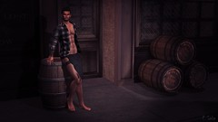 Taking a Break (ChadeSolo) Tags: tavern barrel guy male beer bare chest kilt