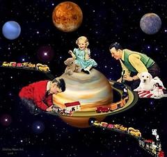 Locomotive in Space - By SilviAne Moon. (Silviane Moon) Tags: arte digitalart digitalcollage digitalpainting futuristic locomotive photomanipulation planetas planets planetspace space surreal surrealart surrealism surrealismo surrealistic surrealfantasy art silvianemoon silvianemoonart