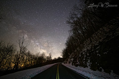 A.M. SKYLINE II (Larry W Brown) Tags: milkyway skylinedrive shenandoahnationalpark swiftrungap virginia astrophotography snow lightpainting