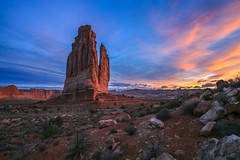 Courthouse Tower Sunrise (TWK2011) Tags: courthouse tower sunrise blue red gold yellow magenta rockformation arches