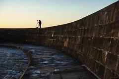 Tog On The Cobb (ShrubMonkey (Julian Heritage)) Tags: thecobb lymeregis dorset landmark coast coastal harbour seawall photographer tog candid sunrise warm glow light seaside