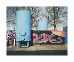 ** (ha*voc) Tags: mamiya7ii 65mm rangefinder film 120 mediumformat 6x7 fujipro400h urban urbanfragments industrialstructures amsterdamnoord silence graffiti mundane