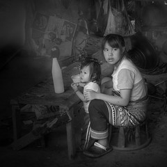 Sisters-Chiang Mai Hill Top Tribe (Thaiexpat) Tags: thailand sisters chiangmai hilltoptribe bw sony rx1rii zeiss 35mm portrait