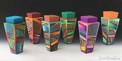 More lidded pots with 'Jazzy Missoni' patterns (Carol Blackburn - London) Tags: polymer fimo staedtler missoni blends patterns pots lidded