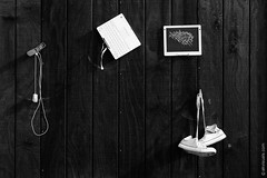 Technological Installation By Unknown Artist In Darwin, California (thedot_ru) Tags: technology installation art fineart publicart artwork artist darwin california socal america travel travelling adventure wanderlust objects shoes macbook screen cellphone wood blackandwhite monochrome bw canon5d 2014