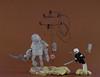 Desert encounter (Tino Poutiainen) Tags: lego legomoc legobuild minifigure robot nier automata anime desert battle fight display scale pod 2b 9s machine apocalypse android action sand wire pole
