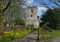 St Leonard's Church, Thorpe (Blue Sky Pix) Tags: thorpe village ashbournearea derbyshire england spring2017 yellow flowers sunshine gloriousarea walking exercise healthy peak district pentax stleonardschurch bluesky