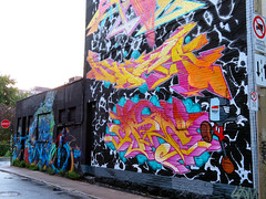 Graffiti, Montreal, Quebec, Canada (duaneschermerhorn) Tags: architecture building structure architect graffiti tagging tags colurful yellow red orange blue street sidewalk colours vivid color colors