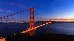 Golden Gate Bridge at Sunset (AkshayDeshpande) Tags: golden gate bridge san francisco california usa america architecture sunset canon t3i rebel colors sky blue water pacific coast long exposure bay dusk