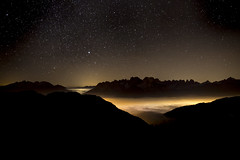 Signals from the valley (lbencini) Tags: landscape landscapephotography nature night stars fog foggy starrynight longexposition longexposure cadore lozzodicadore veneto italy dolomites alps mountains fantastic calm wow canon nofilter