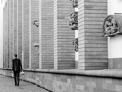 Pillar pathway (A. Yousuf Kurniawan) Tags: minimalism minimalist blackandwhite monochrome building pillar walking walkway oldtown people streetphotography urbanlife lines architecture ornament frame frankfurt decisivemoment