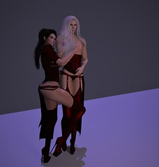 Red Couple (Sio Skytower) Tags: ekatarina sio garters heels corset secondlife posing pictures andro androgynous femme female couple