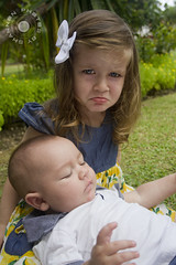 Grumpy Michaela and baby Eli (photosbyshannon) Tags: photosbyshannon siblings grumpy brother sister toddler portrait familyportrait family nothappy baby kid kids cuties cute adorable