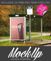 Free Outdoor Advertising Mock-up in PSD (Mockupfree.co) Tags: mockup free product mockups outdoor signage banner advertisement ad street park summer bus busstop