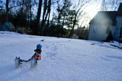 A ruff ride (081/365) (robjvale) Tags: nikon d3200 adventurerjoe project365 lego huskie sled snow winter cold sunset sun outside outdoors flare house trees