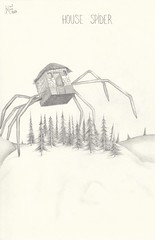 House spider (Klaas van den Burg) Tags: housespider pencil blackandwhite humor absurd surreal funny