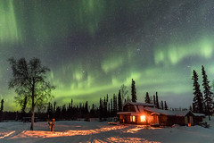 Goldstream Husky Lodge (Markus Trienke) Tags: nenana alaska usa us snow winter cold frozen lodge hut auroraborealis northernlights night nightphotopraphy