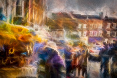 Blustery Day Blues (RCARCARCA) Tags: jewellery crowds ghosts thebootinn tourists photoartistry people buildings canon orange red 70200l bustle blue grunge stalbans pub marketstall stormclouds clouds vw 5diii publichouse market golf hustle architecture