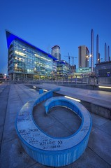 Numbers Up (Captain Nikon) Tags: mediacity salfordquays salford manchester cheshire northwest england greatbritain britishcity uk bluehour moody bbc pier9 regeneration sculpture no9 nikon nikonphotography streetphotography landscapephotography urbanphotography manchestershipcanal