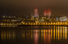 Flame Towers (1 of 1) (emilqazi) Tags: baku azerbaijan city cityscape night nightscape sea seafront seaside seascape waterfront water travel capital towers flame skyscrapers fog evening mist architecture