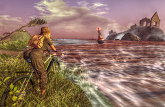 Traveller around timeless lands (Milla DelRay) Tags: bike nature ruin landscape waterscape sl secondlife