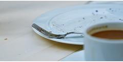 Once upon a time... (Stefan Wirtz) Tags: teller kaffee cake blackforrestcherrycake plate gabel fork cup tassekaffee restaurant table tisch schwarzwälderkirschtorte coffee cupofcoffee blumenfeld